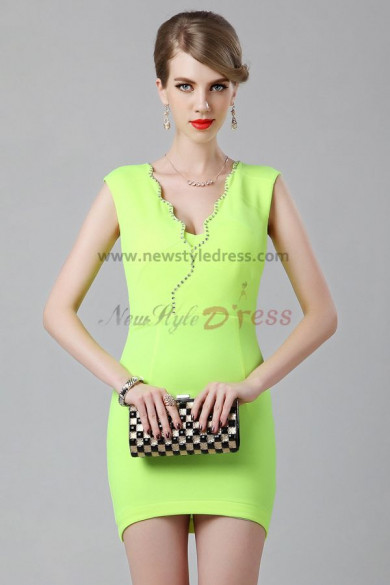 Green V-neck Above Knee Sexy Cocktail dresses nm-0216