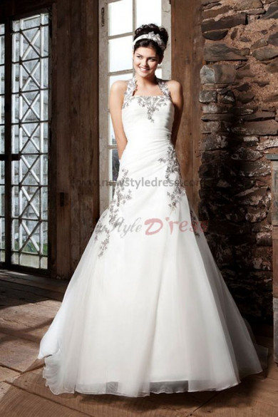 Halter Appliques a line Hot Sale Elegant Good comment wedding dress nw-0255