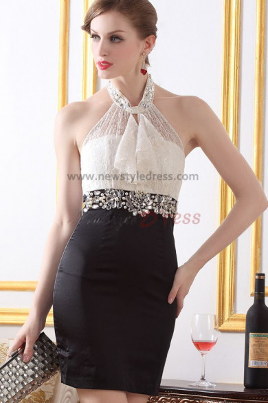 Halter Sheath Crystal Above Knee Sexy Cocktail dresses nm-0213