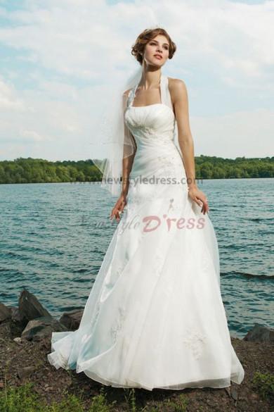 Halter a line Beach Latest Fashion Glamorous Appliques wedding dress nw-0237