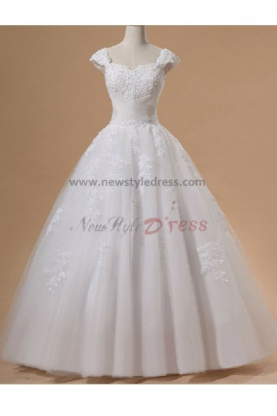 Lace Up Scalloped ball gown Elegant Floor-Length Lace Organza Hand-beading Wedding Dresses nw-0091