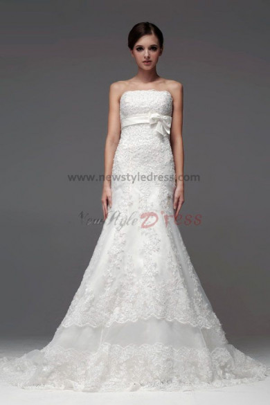 Hand beading bow Lace under 200 Wedding Dresses Cathedral Train customize nw-0111