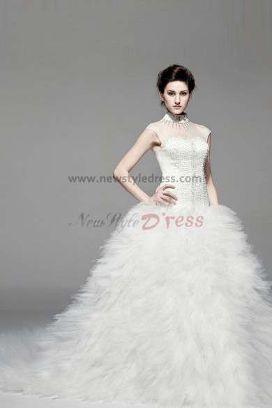High Collar Chest With beading Chapel Train Luxurious Wedding Dresses nw-0228