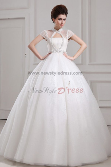 High Halter Ball Gown Glamorous Floor-Length Empire Organza Wedding Dresses nw-0093