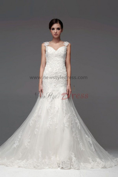 Hot Sale Appliques Lace Chapel Train Hand beading Trumpet Wedding Dresses nw-0224