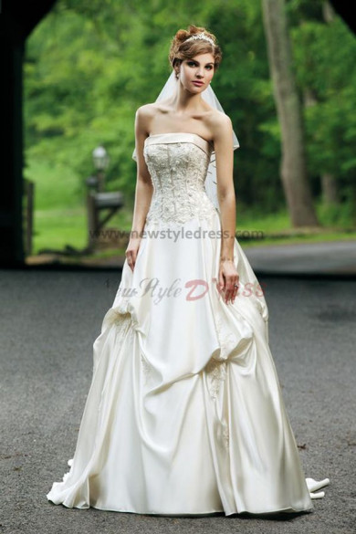 Hot Sale Ruched Chest Appliques Gorgeous Spring wedding gowns nw-0243