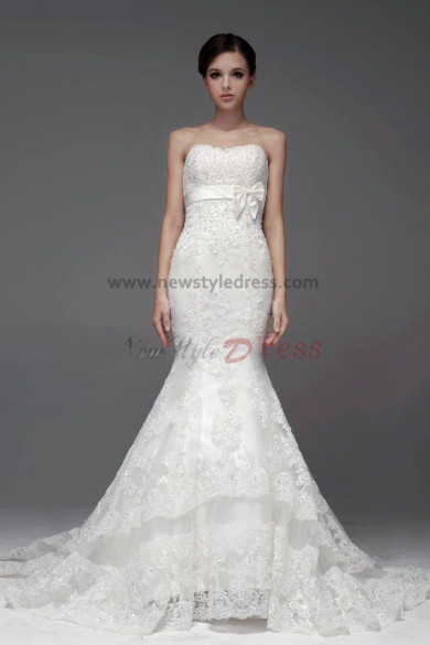 Ivory Lace Mermaid Wedding Dresses Cathedral Train beading nw-0112