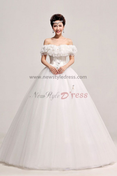 2014 New Arrival Lace Bateau Ball Gown Wedding Dresses nw-0072