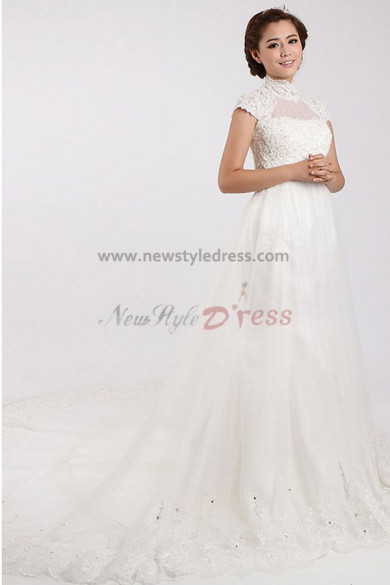 Lace High A-Line Classic Short Sleeves Court Train Appliques/Chest Wedding Dresses nw-0096