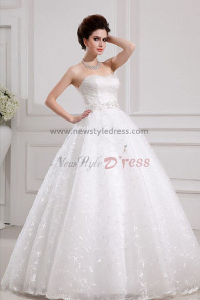 Lace Sweetheart Glamorous Floor-Length Ball Gown Embroidery Chest With beading under 200 Wedding Dresses nw-0094