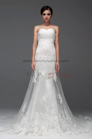 Lace Train Hand beading a-line Chapel Train Wedding Dresses under $200 nw-0221