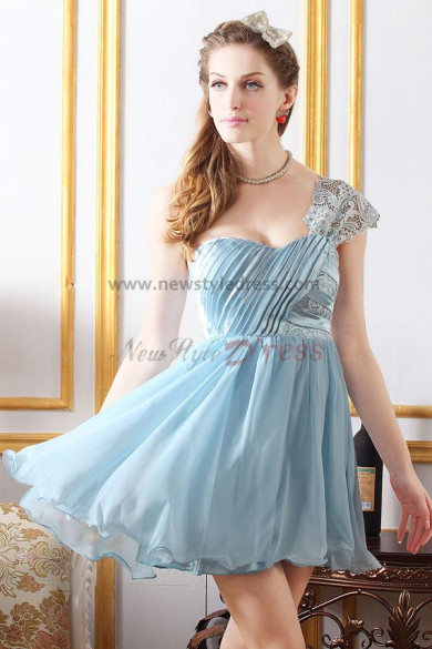 Light Sky Blue Above Knee One Shoulder Sexy Homecoming Dresses nm-0236