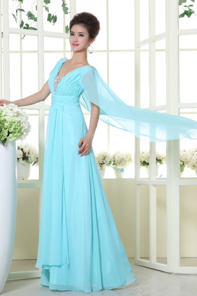2019 New Style A-Line Light Sky Blue Chiffon long Prom Dresses With shawls nm-0182