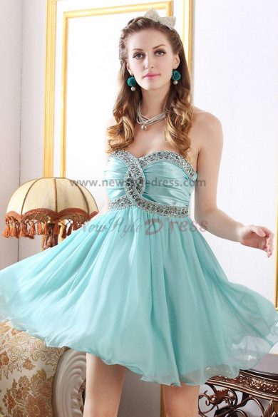 Light Sky Blue/Pink Sweetheart Above Knee Gorgeous Homecoming Dresses nm-0248
