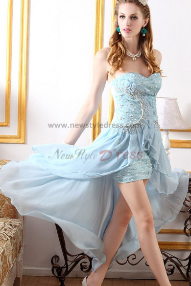 Light Sky Blue Sweetheart Chest Appliques Sheath Elegant prom dress nm-0211