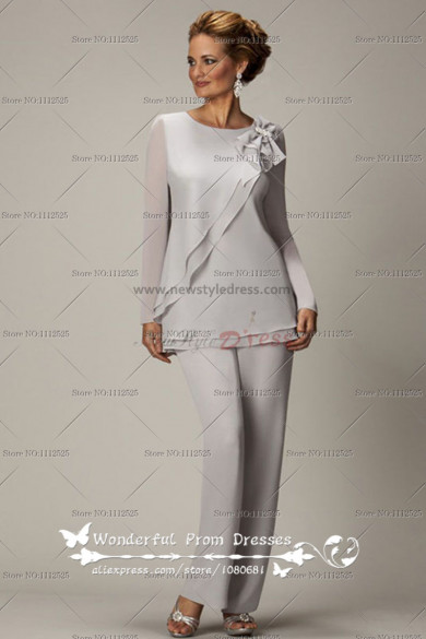 Long Sleeves Light Gray Two piece Chiffon mother of the bride pants suits nmo-020