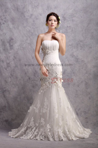 Mermaid Latest Fashion Sheath Wedding Dresses with Lace Appliques nw-0169