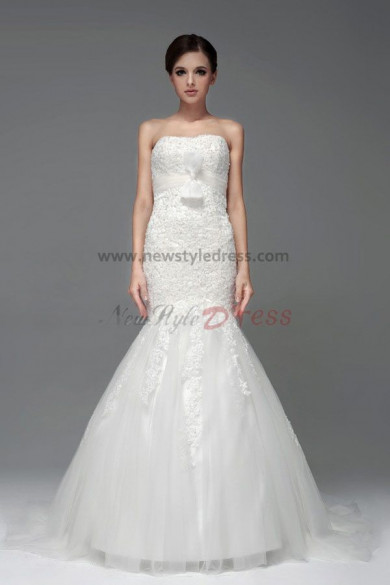Mermaid beading bow Lace Wedding under $200 Dresses Discount nw-0216