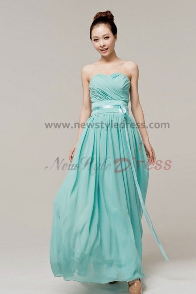 New Arrival Light Sky Blue Chiffon Sweetheart Ankle-Length Prom Dresses nm-0106