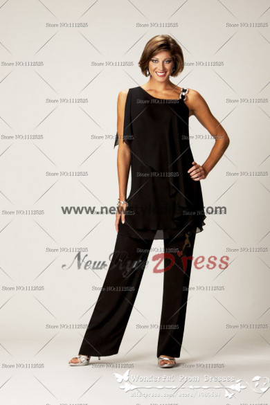 New Arrival Sleeveless Black Chiffon mother of the bride trousers suit nmo-002