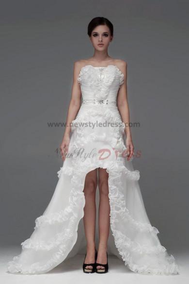 Front Short Long Back Chapel Train Bow Ruffles Wedding Dresses nw-0099