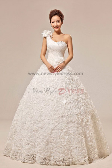 New Style One Shoulder A-Line ball gowns Handmade flower Wedding Dresses nw-0059