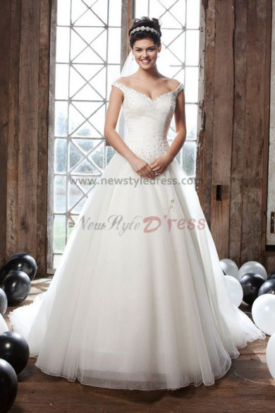 Off the Shoulder a line tulle Beaded Glamorous wedding dress nw-0257