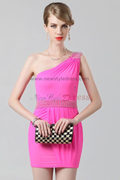 One Shoulder Fuchsia Sheath Above Knee Cheap short prom dress nm-0229