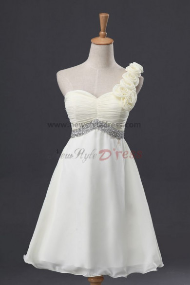 One Shoulder Knee-Length Crystal Ruffles Chiffon Modern Simple Chest with pleats Prom dresses nm-0056