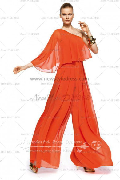 Orange One Shoulder modren pants sets Empire prom dress nmo-089