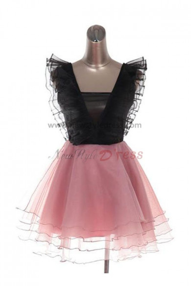 Pink Modern V-neck Satin Organza Summer Tiered 2017 new style Party Dresses nm-0072
