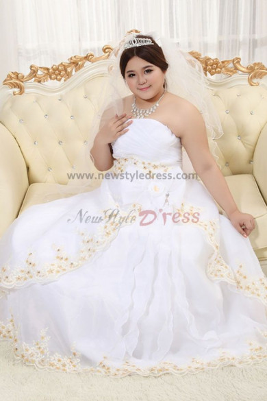 Plus Size Strapless Multilayer Under 200 Wedding Dresses Waist With flower nw-0248