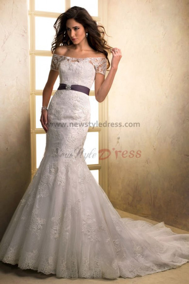 Portait Brush Train Mermaid lace Bateau Elegant wedding dresses with Wraps nw-0191