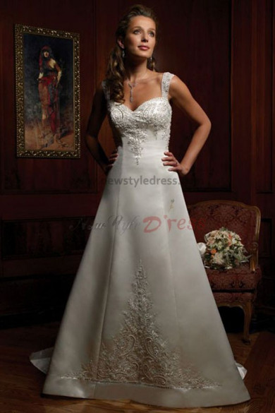 Sashes With Glass Drill Chest Appliques a-line Satin wedding dress nw-0215