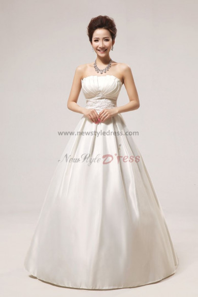 Satin Strapless Floor-Length Bow Wedding Dresses nw-0049
