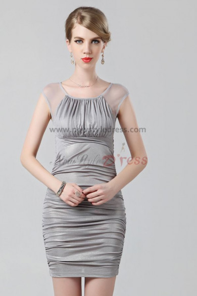 Silver Portait Sheath Above Knee Sexy short prom dress nm-0212