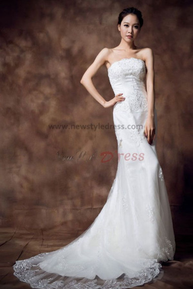 Sheath Strapless lace Appliques Sweep Train Elegant wedding dress nw-0164
