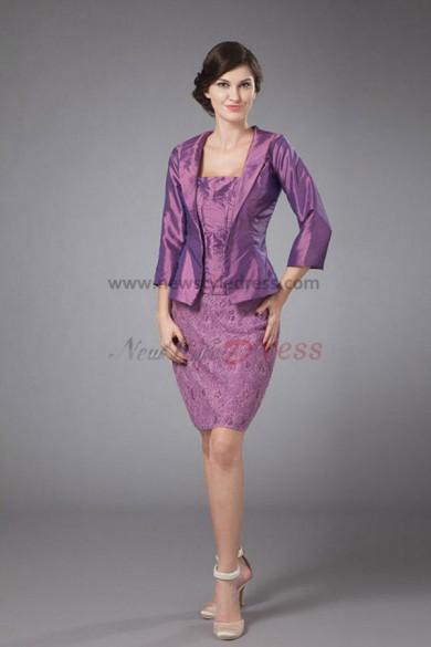 purple Glamorous Mother of the bride suit dress cms-025
