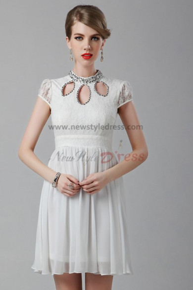 Short Sleeves Ivory High Collar Above Knee short pron dress nm-0244