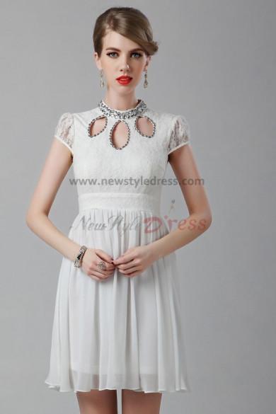 Short Sleeves Ivory High Collar Above Knee short pron dress nm-0244
