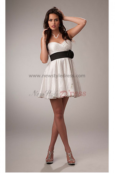 Spaghetti Above Knee Sexy Waist With a balck flower Cocktail dresses nm-0199