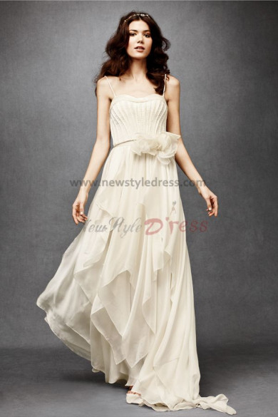 Spaghetti Multilayer Vintage Best Sale Beach wedding gowns nw-0278