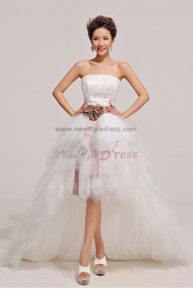 Strapless Brown Belt Chocolate flower Hi-Lo Tulle Tiered Party Dresses nw-0055