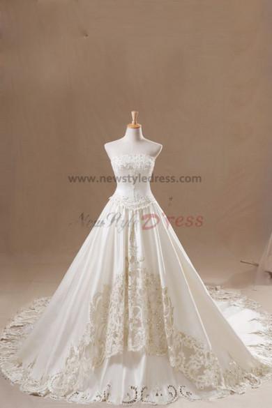 Strapless Elegant A-Line Appliques Royal Train wedding dresses nw-0128