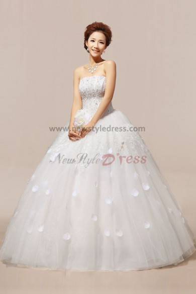 Strapless Floor-Length Appliques Ball Gown Gorgeous Crystal flower wedding Dresses nw-0058