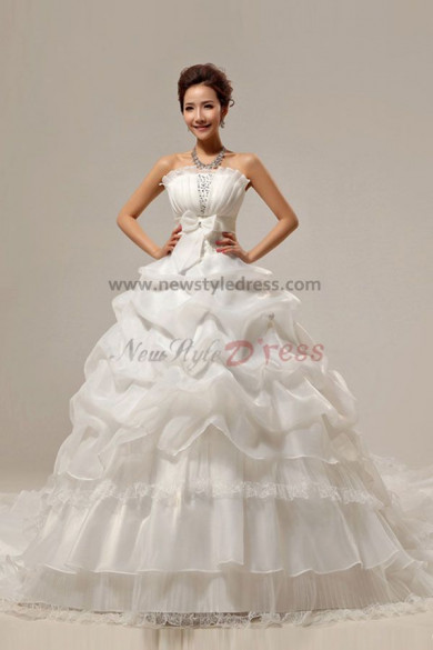 Strapless Ruffles Cathedral Train Elegant Sequins Organza wrinkles Wedding Dresses nw-0063