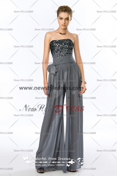 Strapless Sequins Fashion charcoal grey Women
