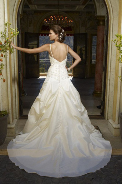 a-line Spaghetti Ruched Sweep Train Cheap Informal wedding dress nw-0241