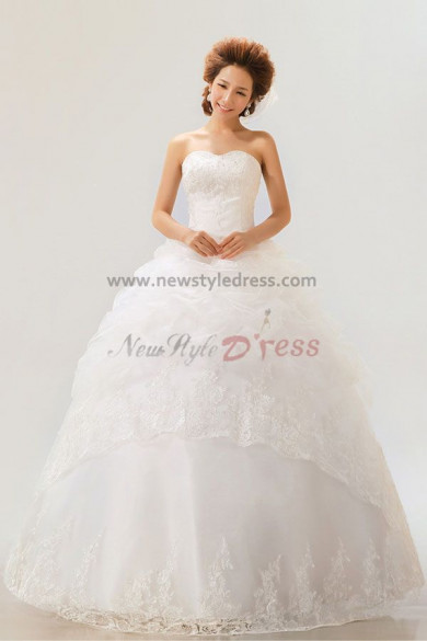 Sweetheart Ball Gown Chest Appliques lace edge Elegant Wedding Dresses nw-0060