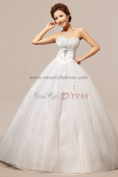 Sweetheart Ball Gown Lace Up Wedding Dresses Chest With beading nw-0050